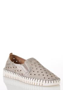 Perforated Silver Slip-On Sneakers