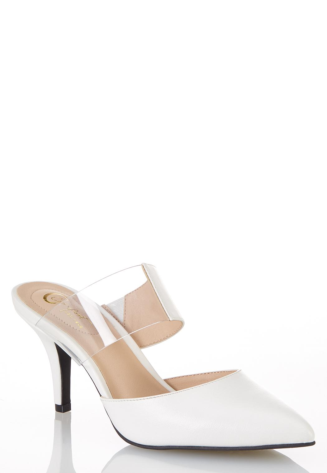 Lucite Strap White Pumps