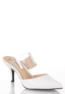 Wide Width Lucite Strap White Pumps