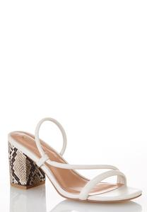 Asymmetric Snake Heel Sandals