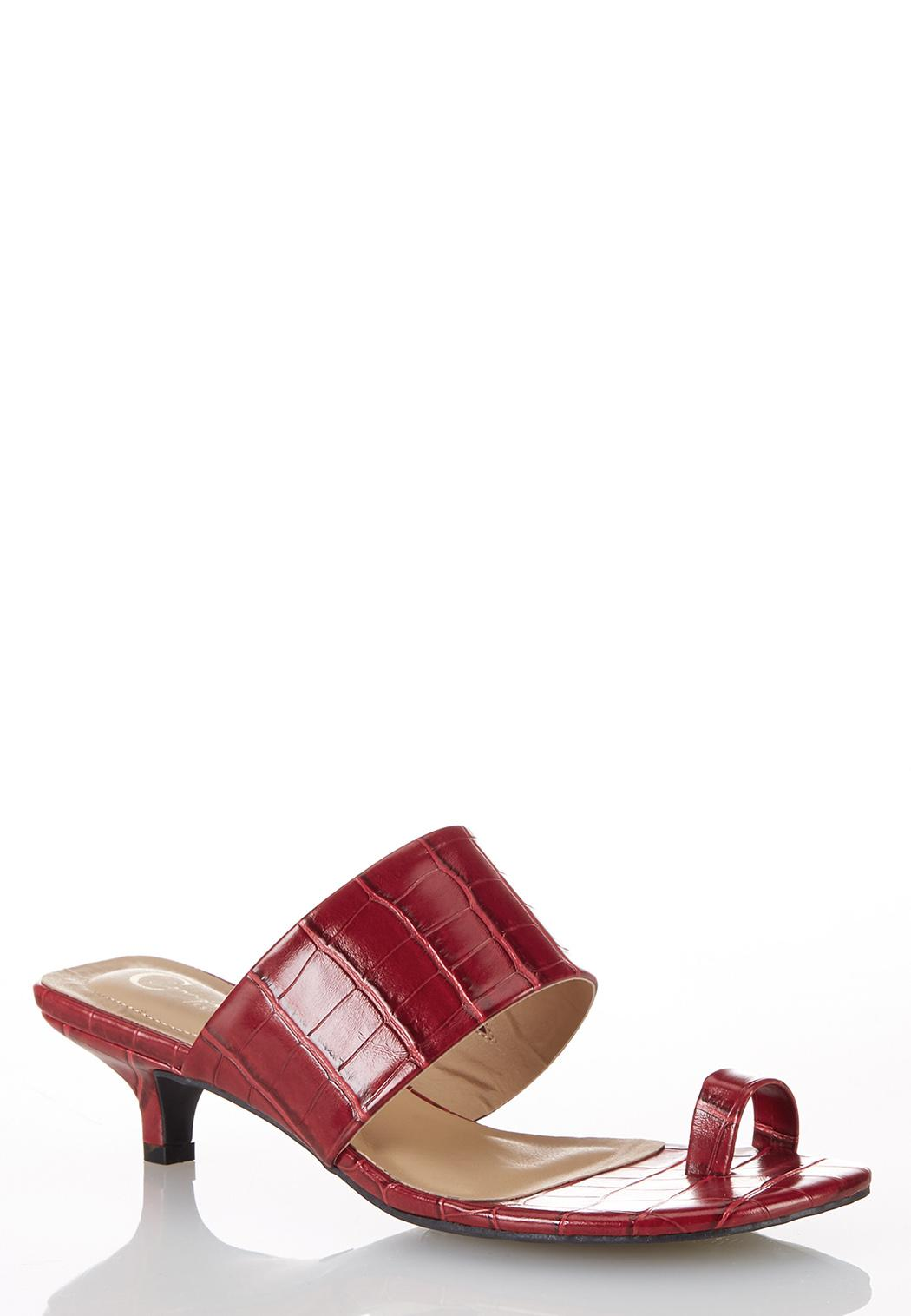 Square Toe Croc Heeled Sandals