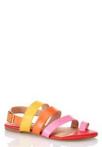 Wide Width Colorful Snakeskin Sandals