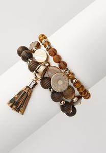 Earth Toned Beaded Stretch Bracelet