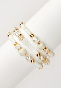 Pearl Wood Bead Bracelet Set