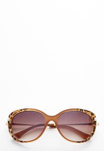 Leopard Trim Square Sunglasses