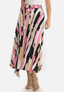 Plus Size Asymmetrical Pleated Skirt