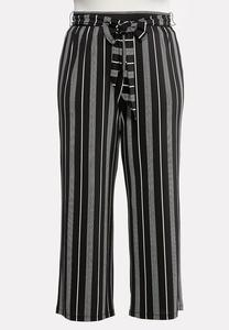 Plus Size Striped Tie Belted Pants