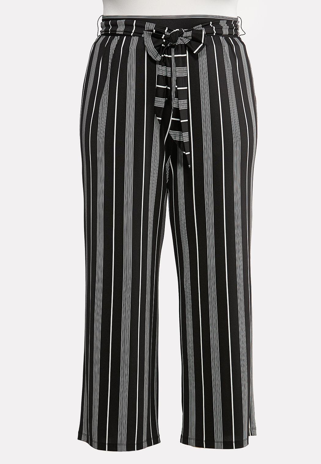 Plus Petite Striped Tie Belted Pants