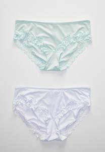 Plus Size White Aqua Lace Trim Panty Set