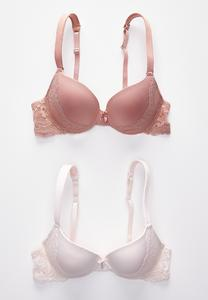 Wide Strap Lace Panel Bra Set