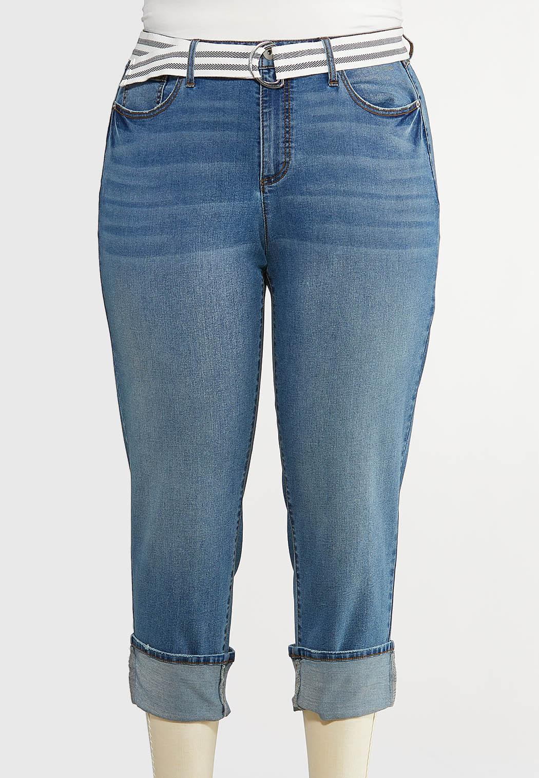 Plus Size Belted Boyfriend Jeans