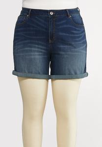Plus Size Dark Wash Denim Shorts