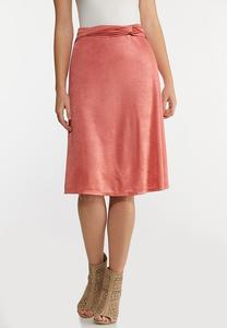 Plus Size Coral Satin Slip Skirt