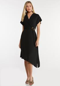 Plus Size Asymmetrical Buckle Dress