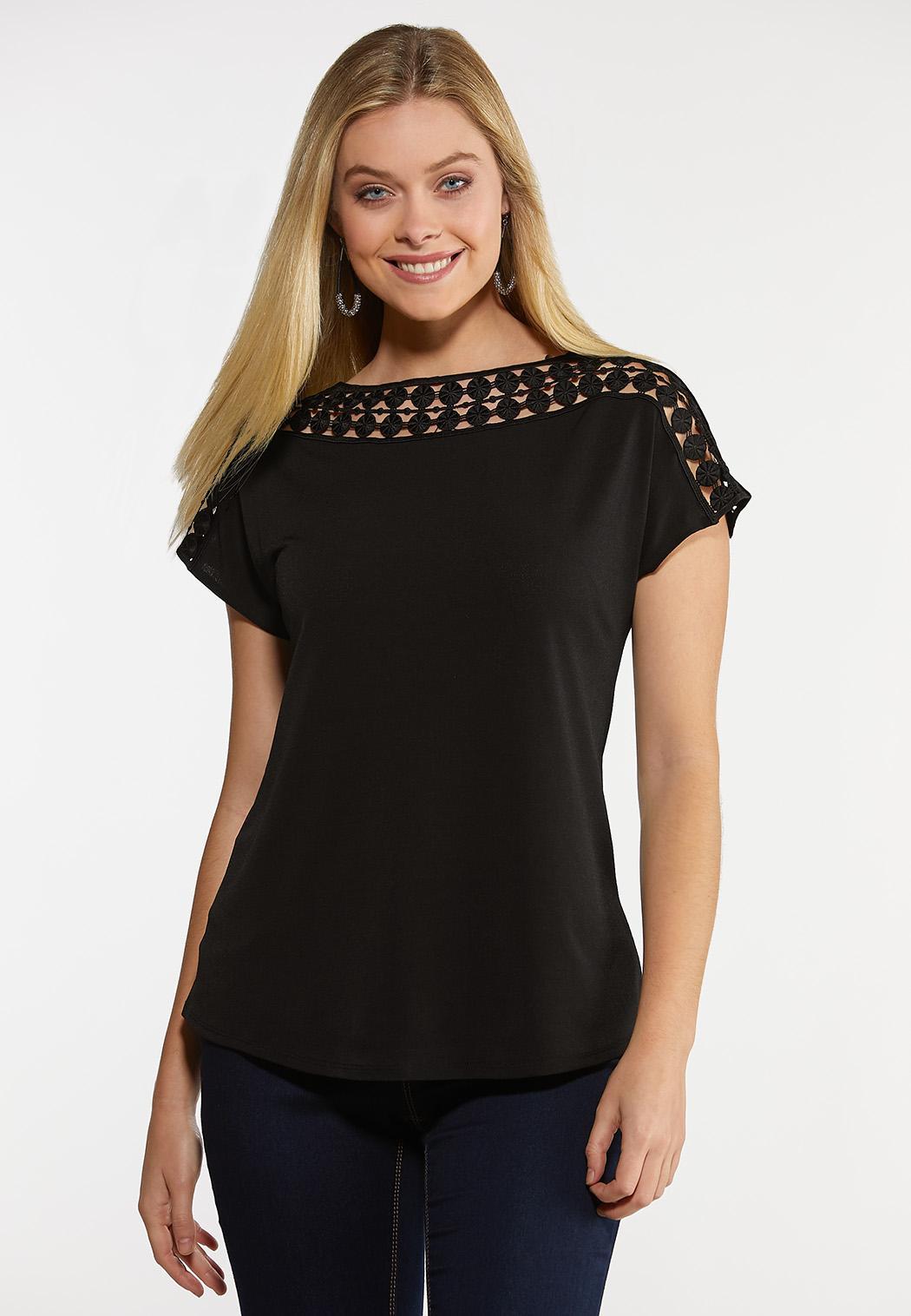 Black Crochet Neck Top