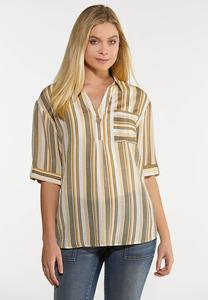 Plus Size Olive Stripe Pullover Top