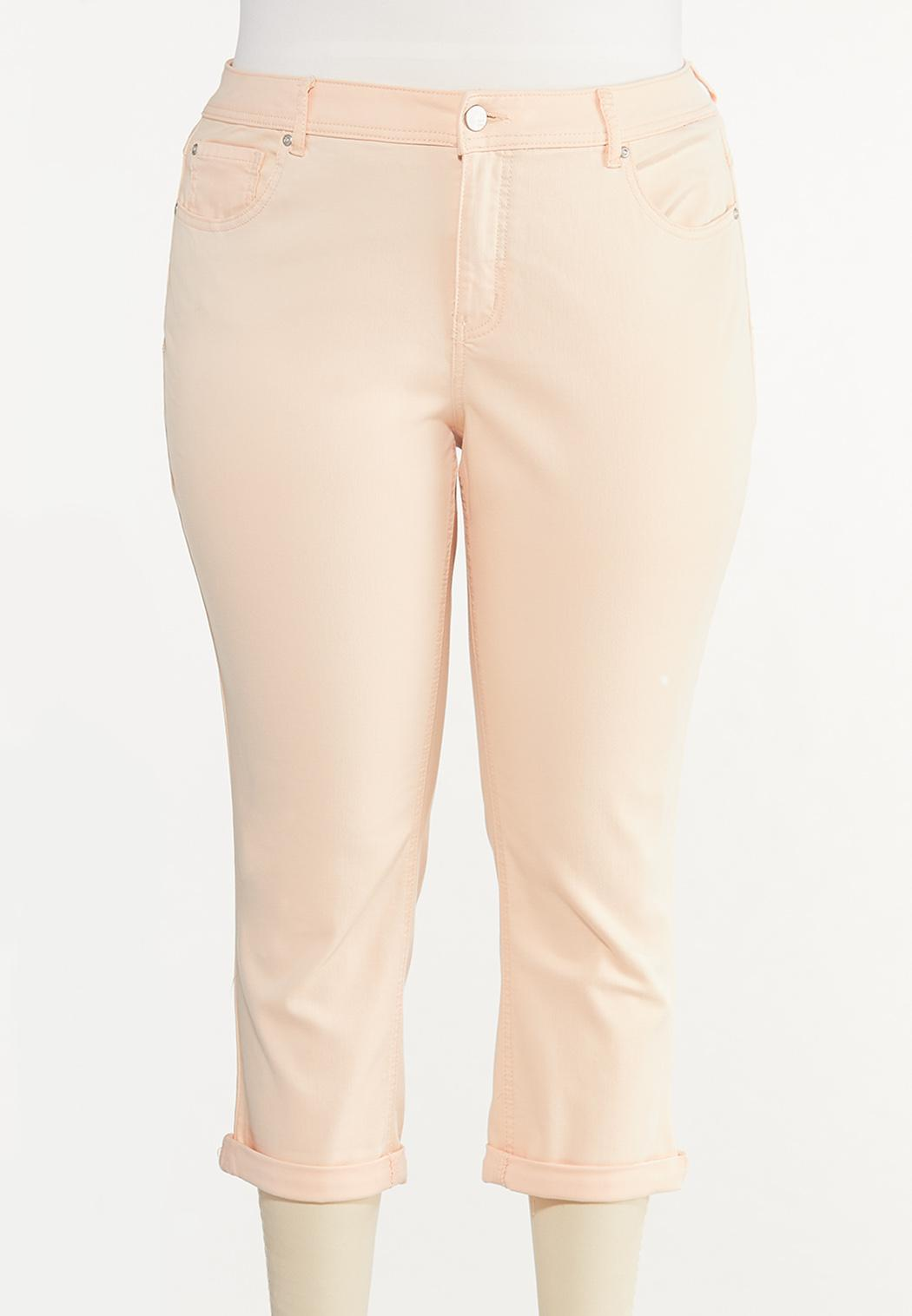 Plus Size Bright Cropped Jeans
