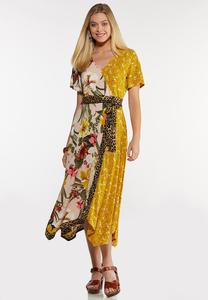 Plus Size Mixed Print Tie Waist Dress
