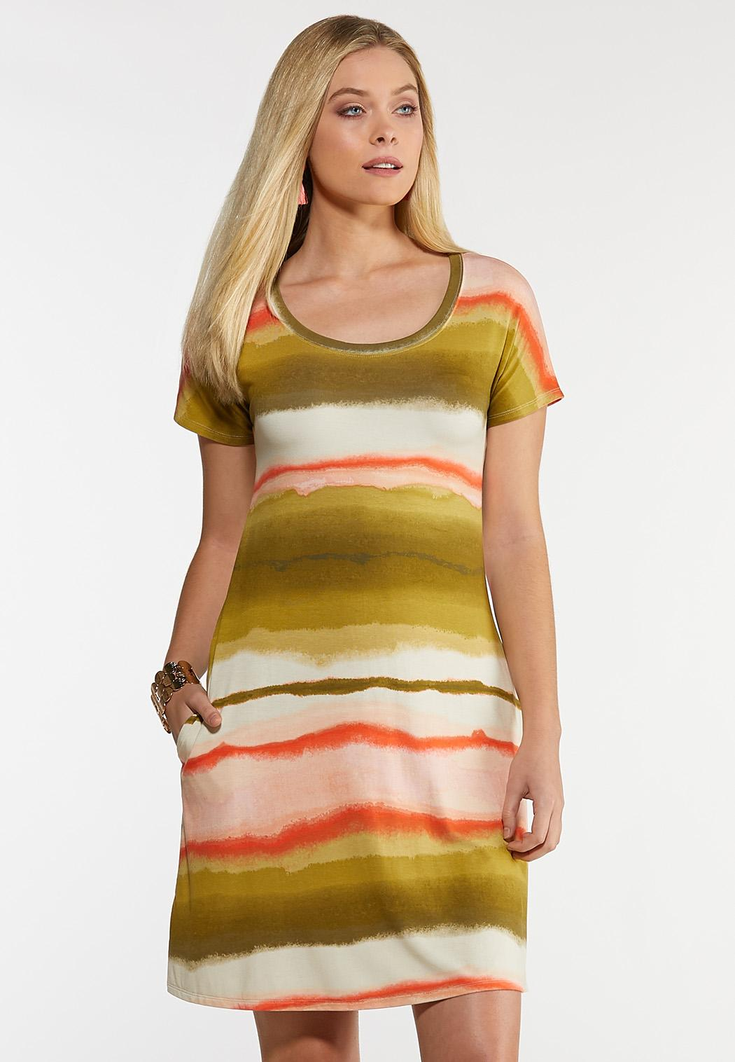 Watercolor Stripe Shirt Dress