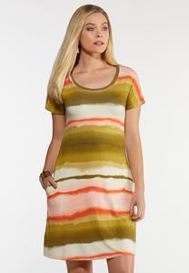 Plus Size Watercolor Stripe Shirt Dress
