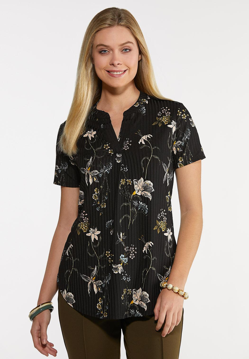 Plus Size Floral Ribbed Top