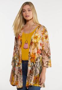 Plus Size Fresh Floral Mesh Kimono