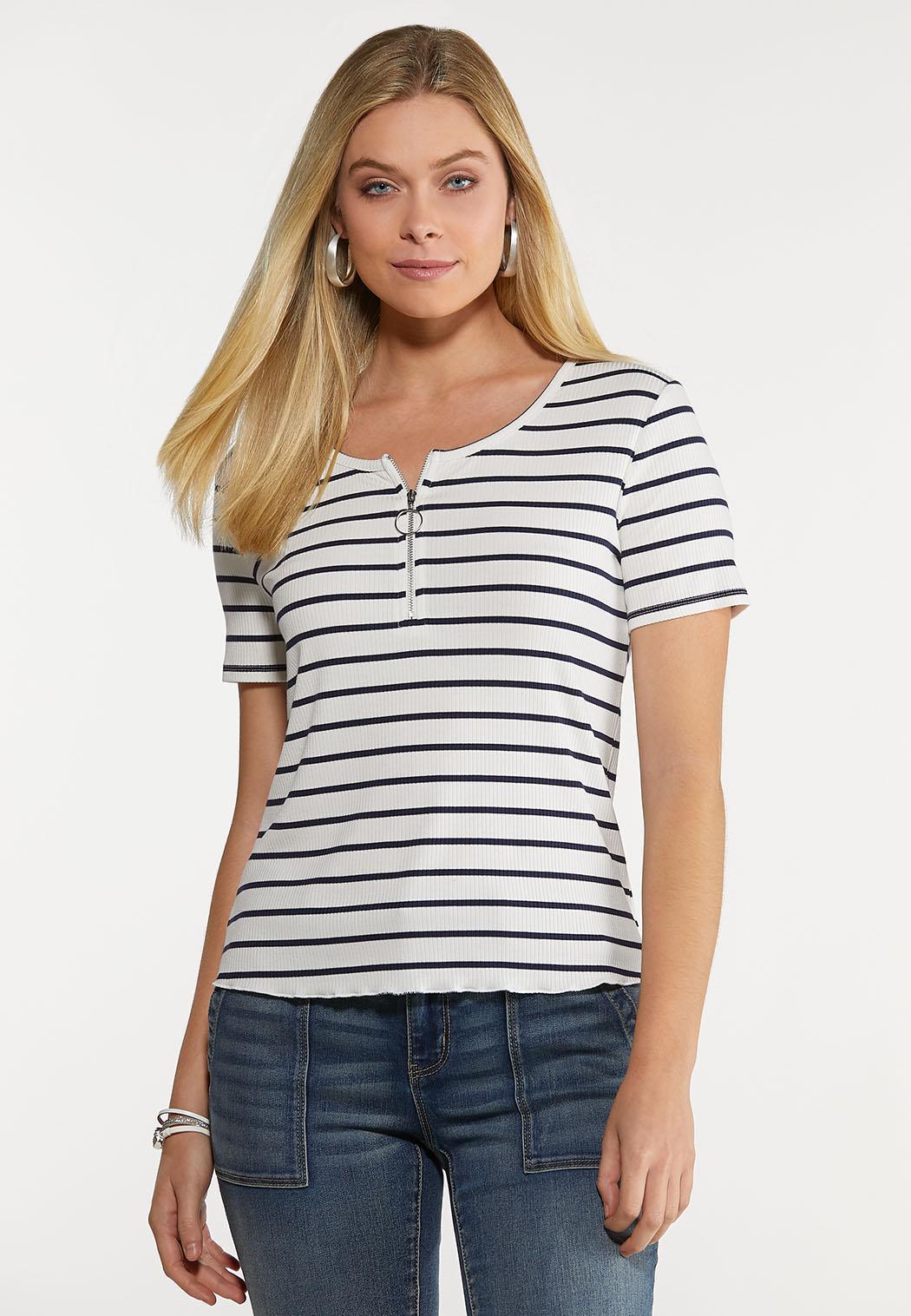 Plus Size Striped Zip Neck Top