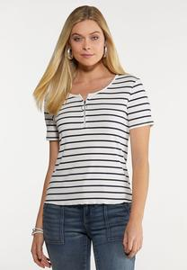 Plus Size Striped Zip Neck Top