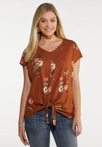 Plus Size Rust Floral Tee