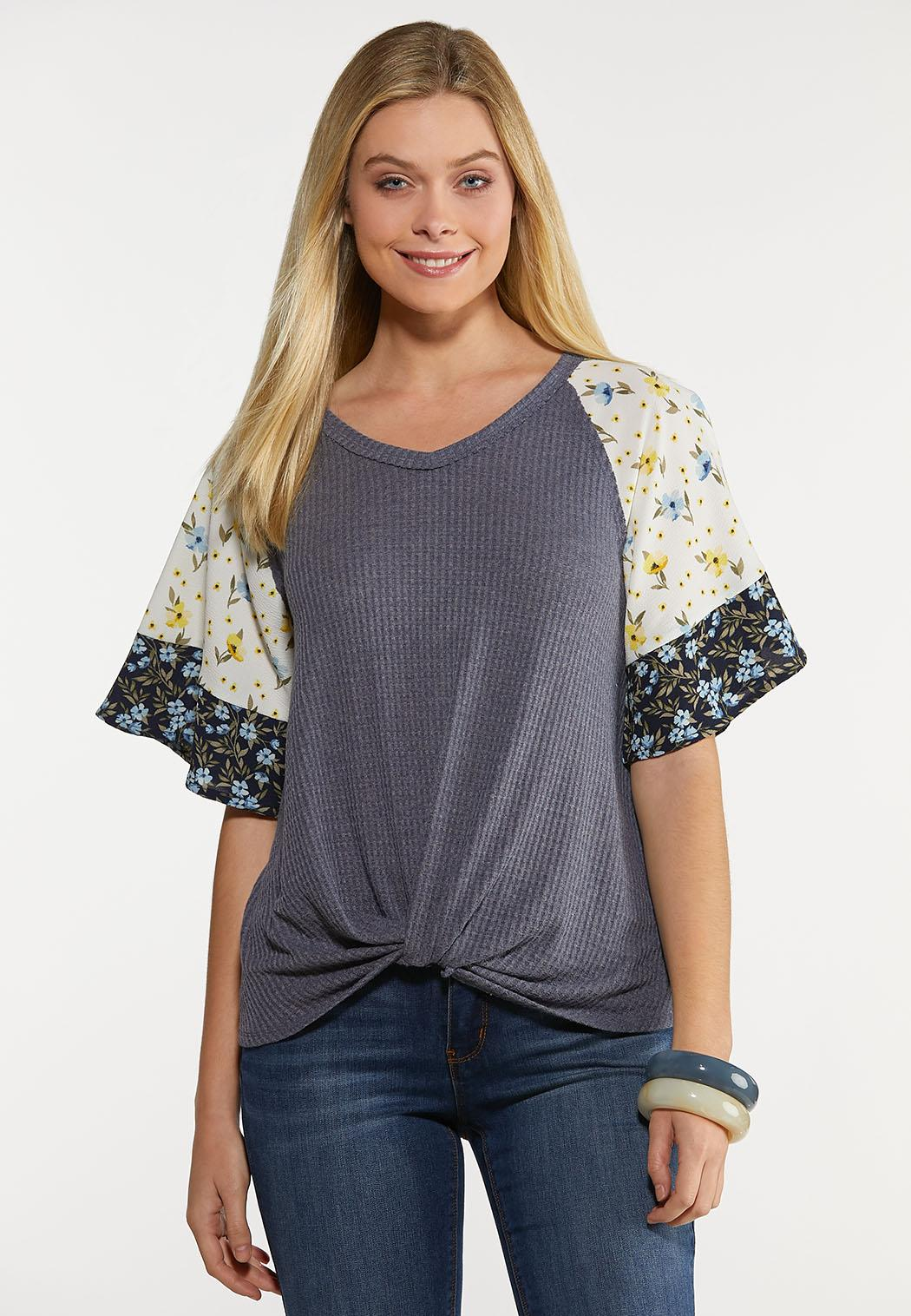 Plus Size Floral Crepe Waffle Top