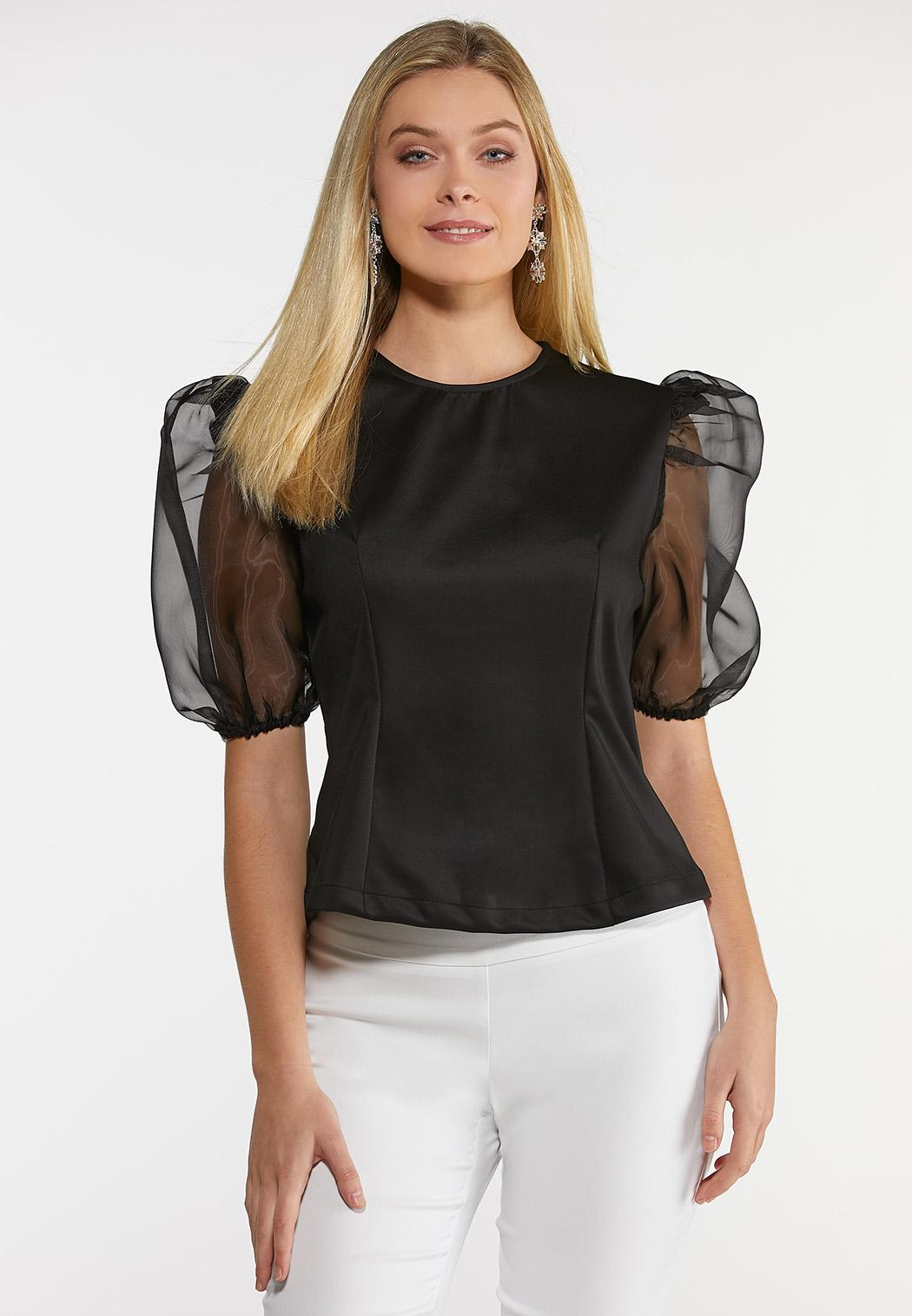 Plus Size Sheer Puff Sleeve Top