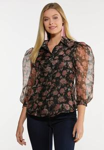 Floral Sheer Puff Sleeve Top