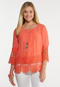 Plus Size Sweet Citrus Crochet Top