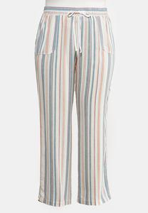 Plus Size Striped Beach Linen Pants