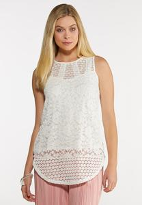 Plus Size Embroidered Mesh Ivory Tank
