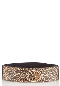 Oval Ring Leopard Stretch Belt