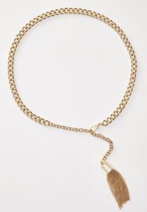 Gold Tasseled Chain Belt