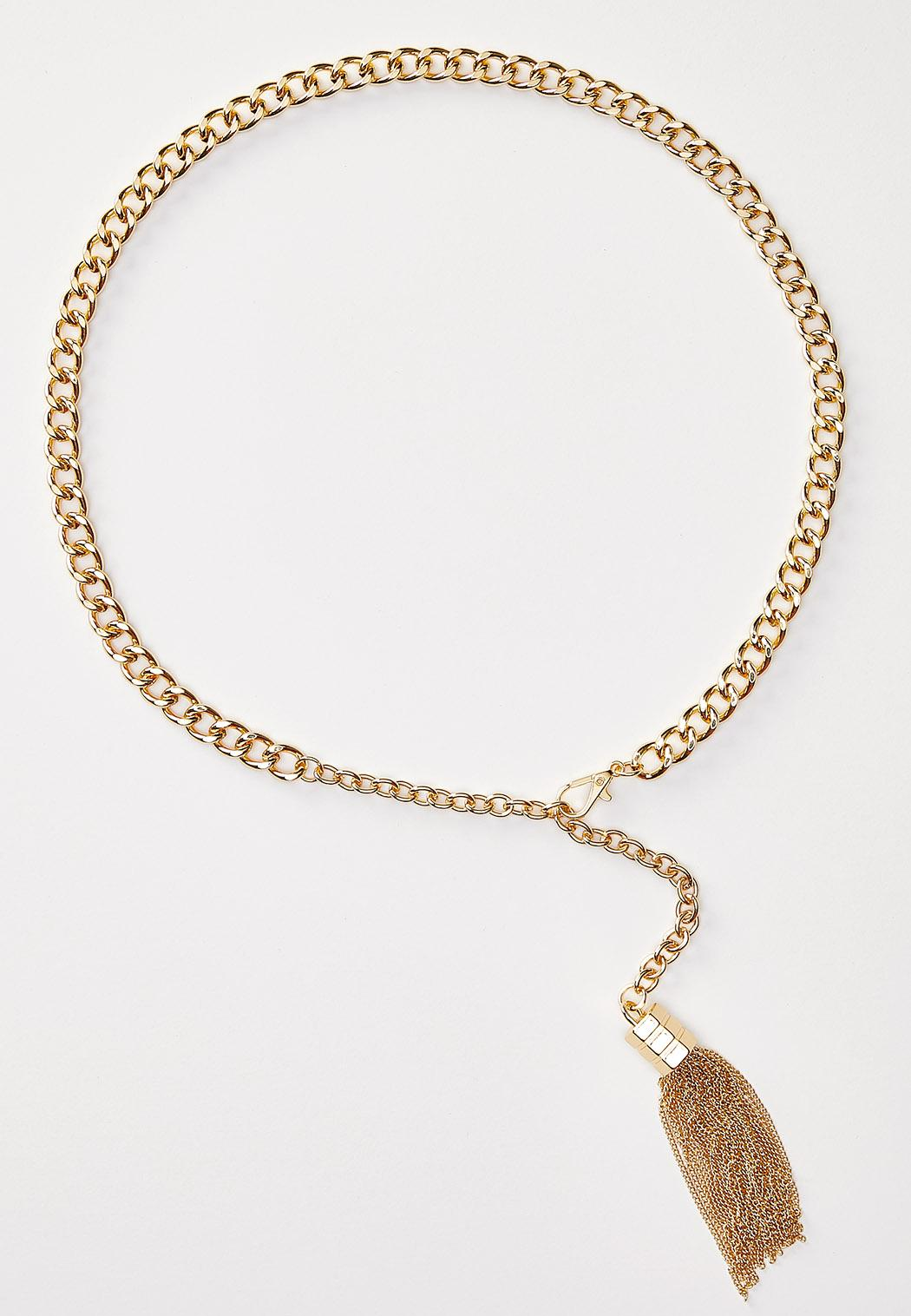 Plus Size Gold Tasseled Chain Belt