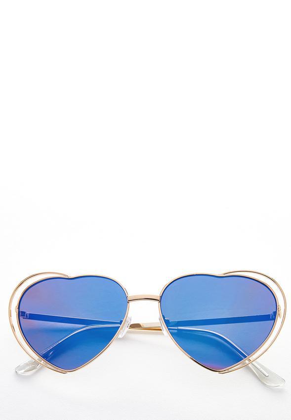 Gold Heart Aviator Sunglasses