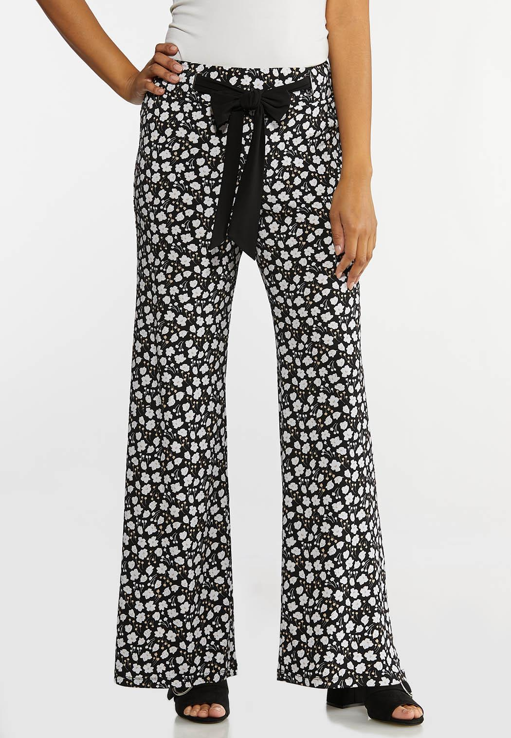 Petite Bitty Floral Tie Waist Pants