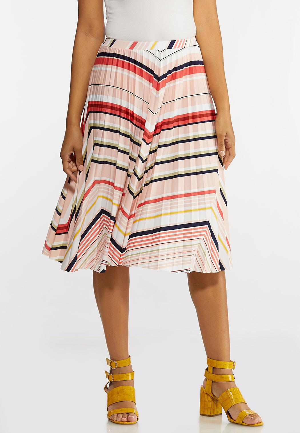 Pleated Chevron Skirt