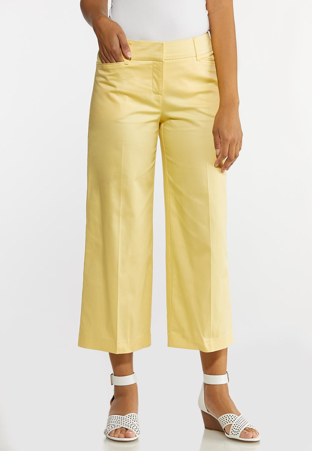 Solid Cropped Sateen Pants
