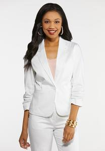 Plus Size Solid Sateen Blazer