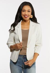 Khaki Striped Blazer