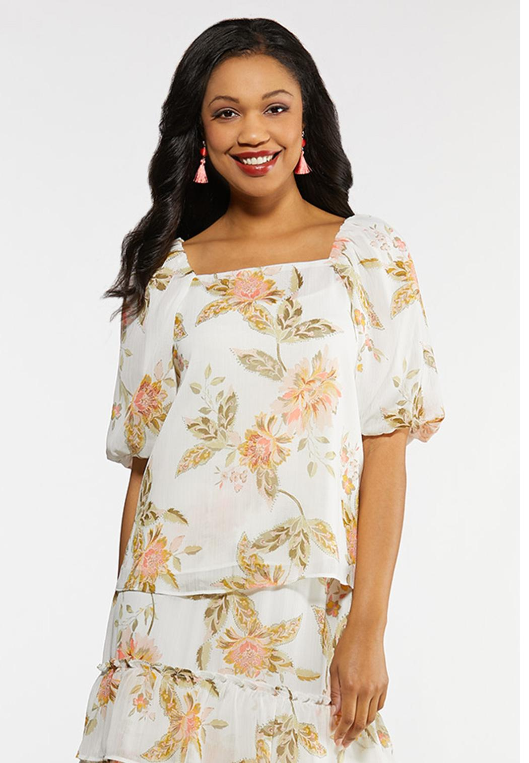 Plus Size Dreamy Floral Puff Sleeve Top