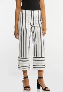 Cropped Stripe Wide Leg Pants