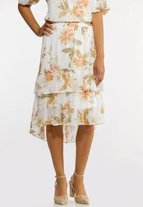 Plus Size Dreamy Floral Tiered Midi Skirt