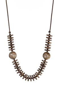 Wood Disc Long Necklace