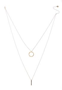 Delicate Ring Bar Layered Necklace