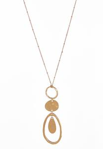 Gold Disc Ring Pendant Necklace